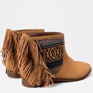 NWT || ZARA Tribal Fringe Ankle Booties